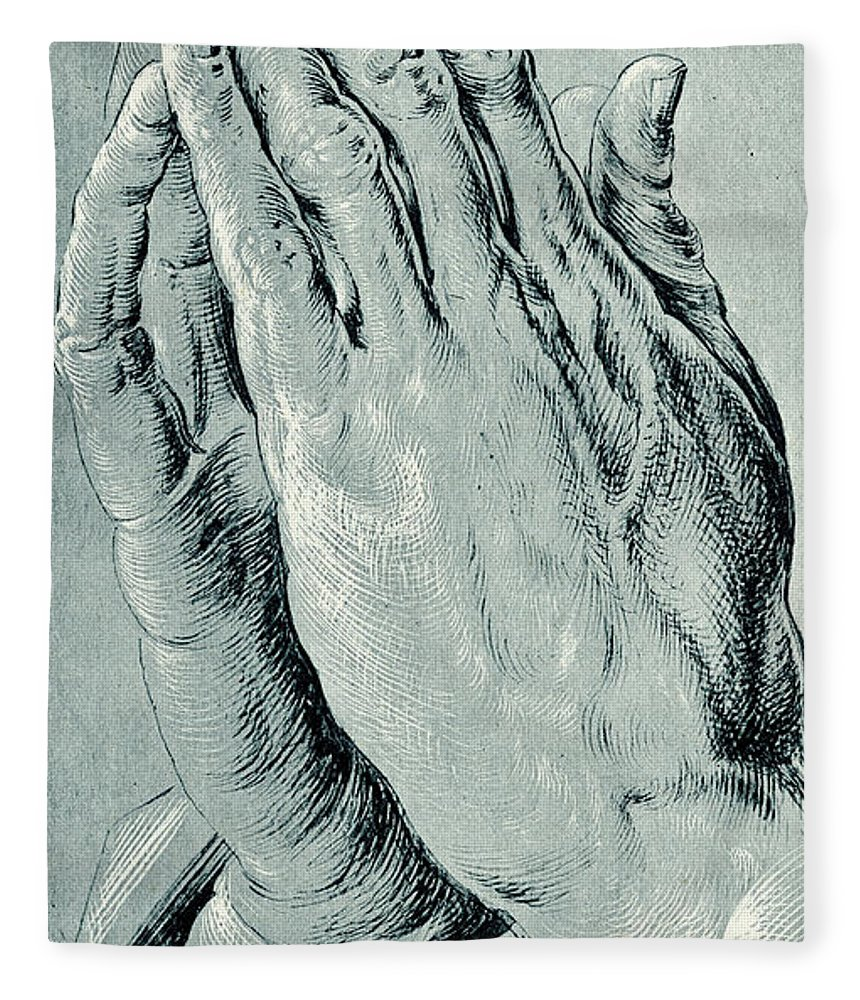 1b98f31c508a Hands Fleece Blanket featuring the drawing Praying Hands