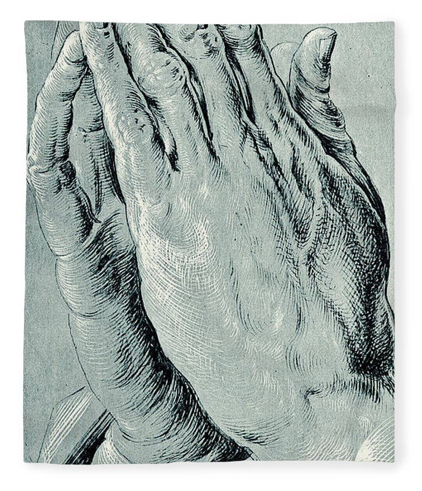 20b2aebe8cf9 Hands Fleece Blanket featuring the drawing Praying Hands
