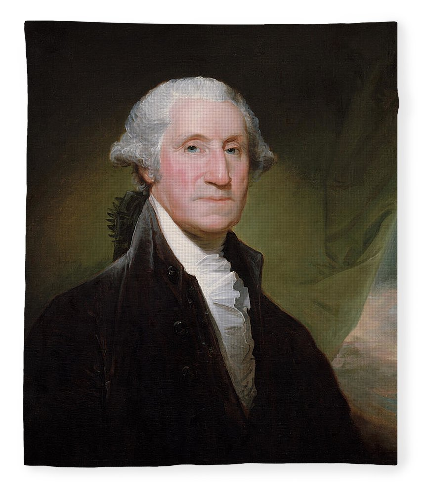 George Washington Fleece Blanket featuring the painting President George Washington by War Is Hell Store