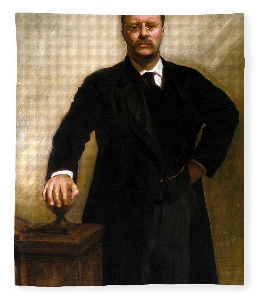 Us Presidents Fleece Blanket featuring the painting President Theodore Roosevelt Painting by War Is Hell Store
