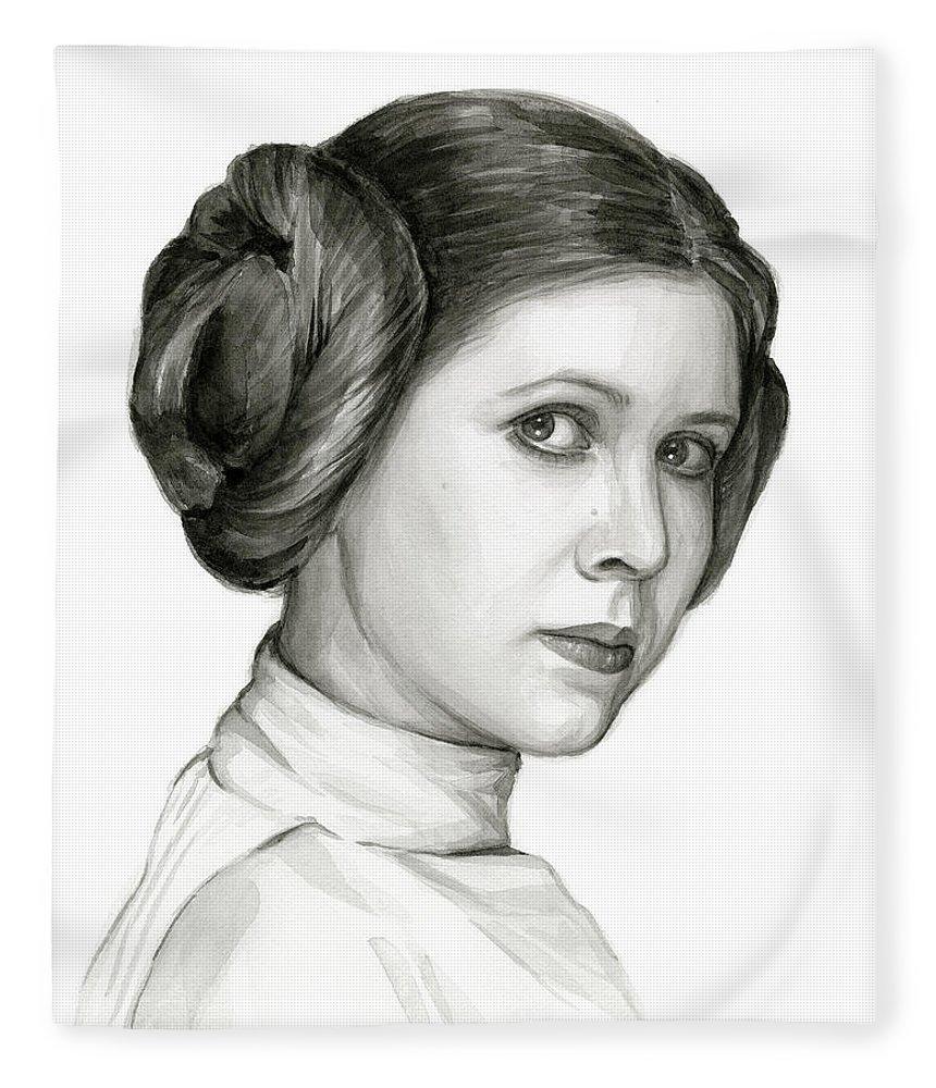 Leia Fleece Blanket featuring the painting Princess Leia Watercolor Portrait by Olga Shvartsur