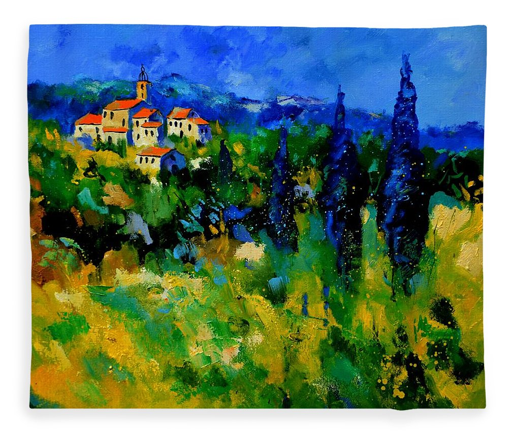 Landscape Fleece Blanket featuring the painting Provence 768110 by Pol Ledent