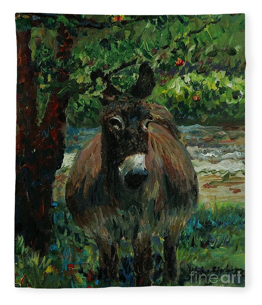 Donkey Fleece Blanket featuring the painting Provence Donkey by Nadine Rippelmeyer