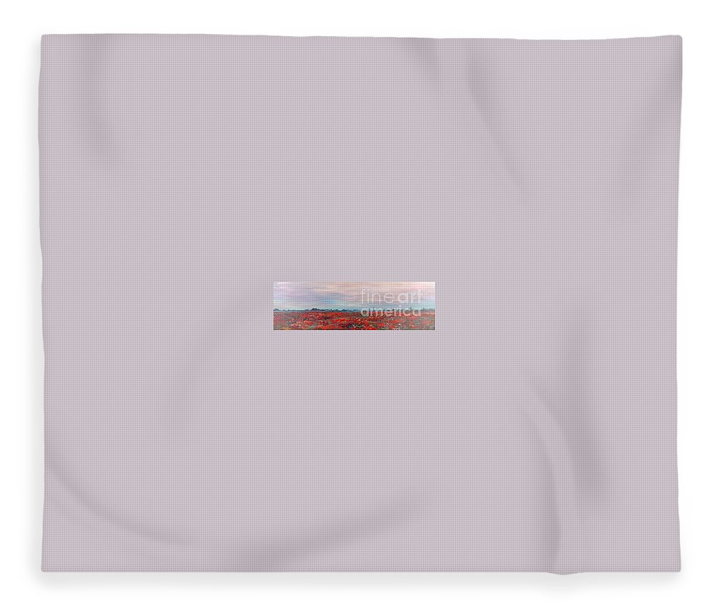 Poppies Fleece Blanket featuring the painting Provence Poppies by Nadine Rippelmeyer