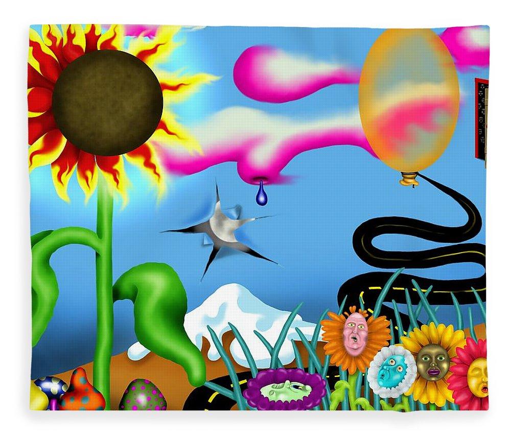 Surrealism Fleece Blanket featuring the digital art Psychedelic Dreamscape I by Robert Morin