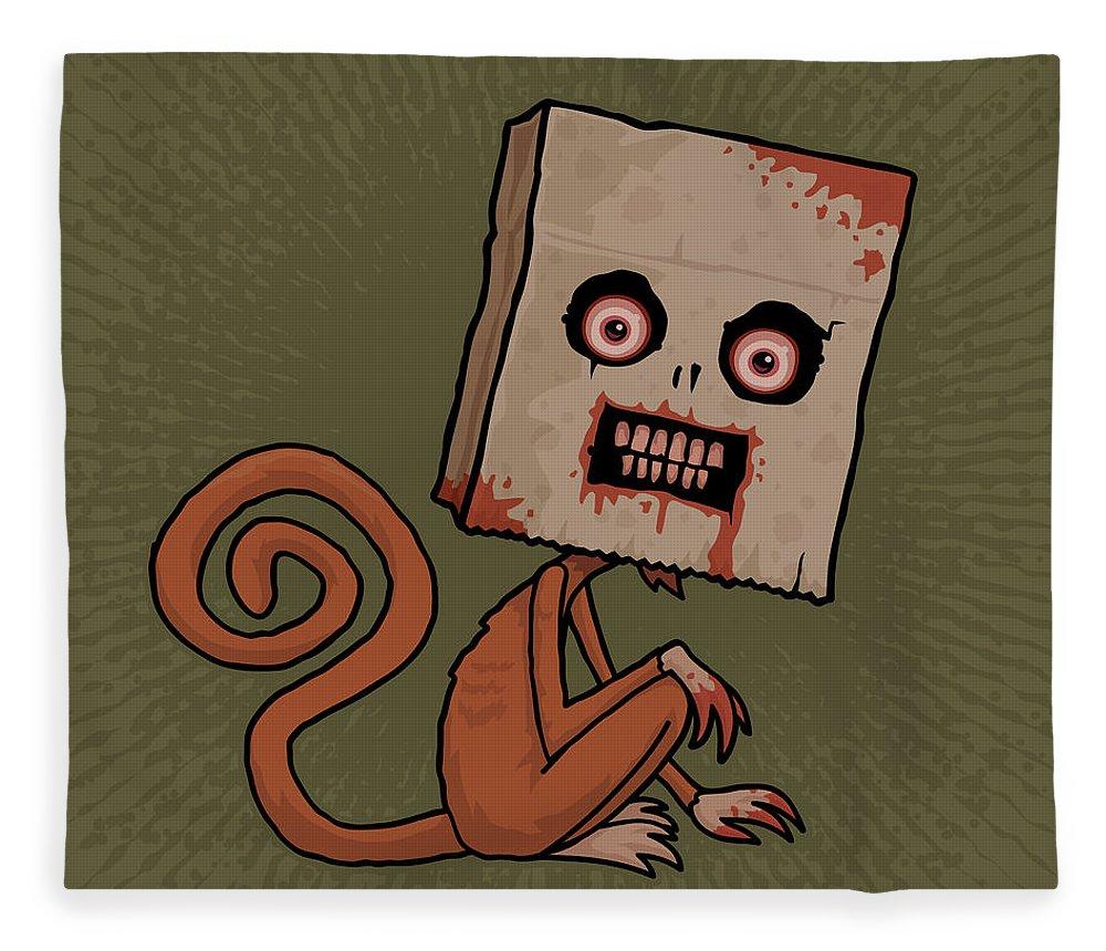 Monkey Fleece Blanket featuring the digital art Psycho Sack Monkey by John Schwegel