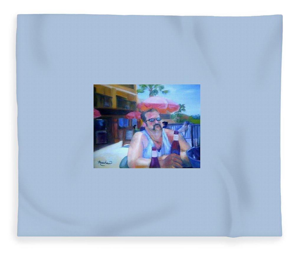 Daytona Fleece Blanket featuring the painting Pub by Sheila Mashaw