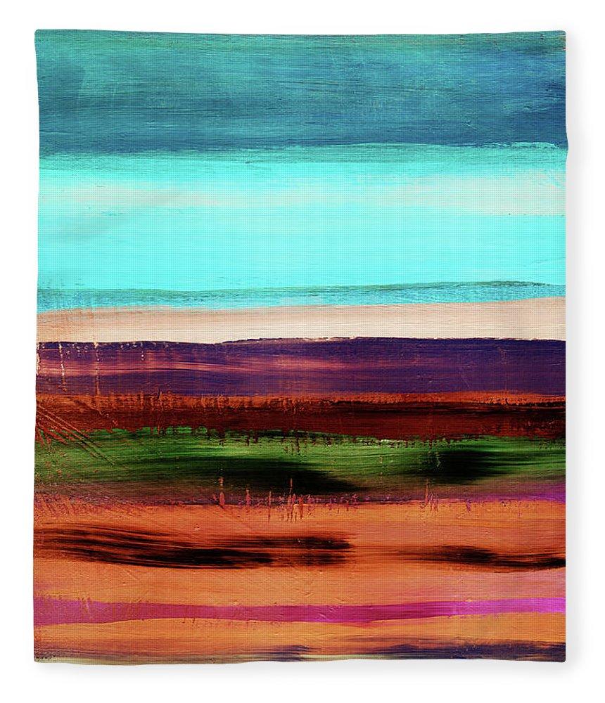 Abstract Fleece Blanket featuring the mixed media Pueblo 2- Art By Linda Woods by Linda Woods