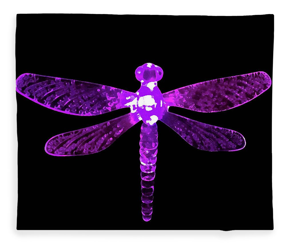 Purple Dragonfly Fleece Blanket