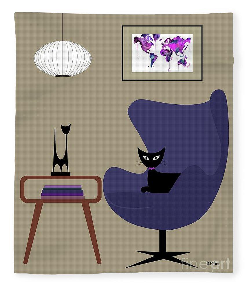 Mid Century Modern Fleece Blanket Featuring The Digital Art Purple Egg Chair  By Donna Mibus