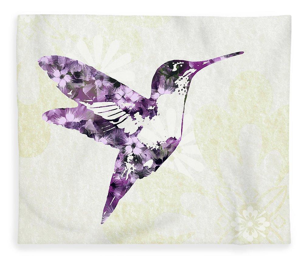 Bird Fleece Blanket featuring the mixed media Purple Floral Hummingbird Art by Christina Rollo