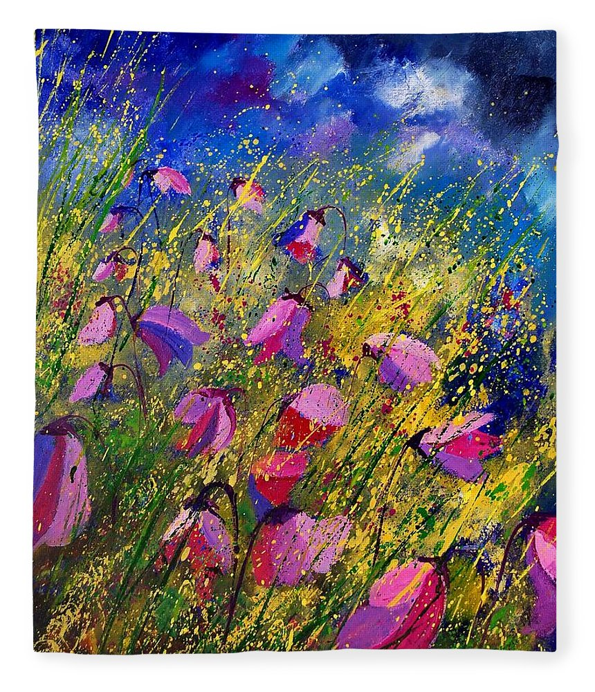 Poppies Fleece Blanket featuring the painting Purple Wild Flowers by Pol Ledent