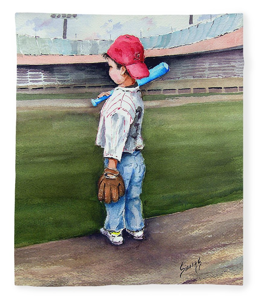Baseball Fleece Blanket featuring the painting Put Me In Coach by Sam Sidders