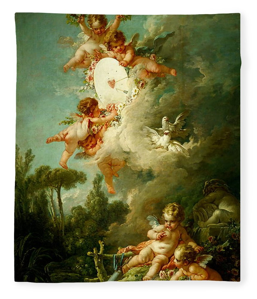 Putti Shooting At A Target Fleece Blanket for Sale by Francois Boucher