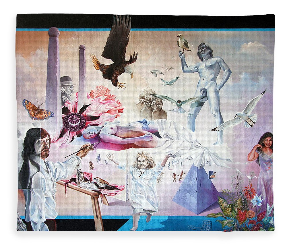 Surrealism Fleece Blanket featuring the painting Quiet Afternoon At The Studio by Otto Rapp