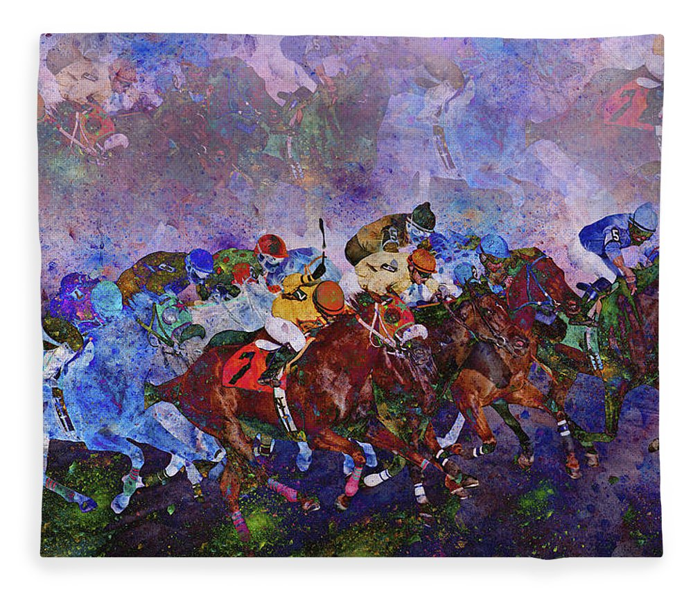 Fantasy Fleece Blanket featuring the digital art Racing With Ghosts by Betsy Knapp