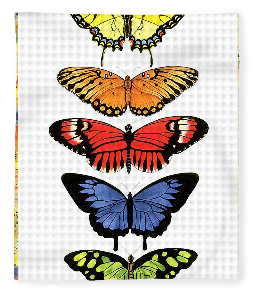 Butterflies Fleece Blanket featuring the painting Rainbow Butterflies by Lucy Arnold