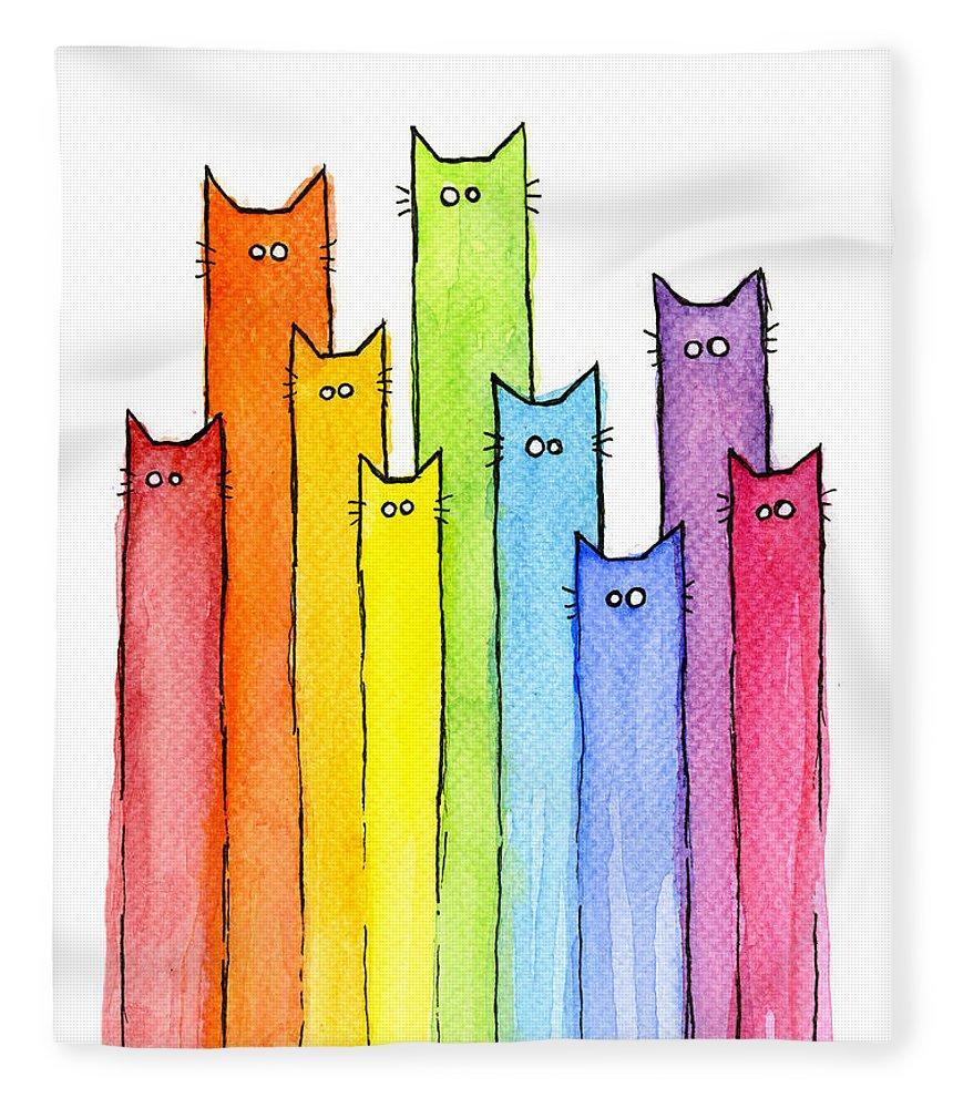 Watercolor Fleece Blanket featuring the painting Rainbow of Cats by Olga Shvartsur