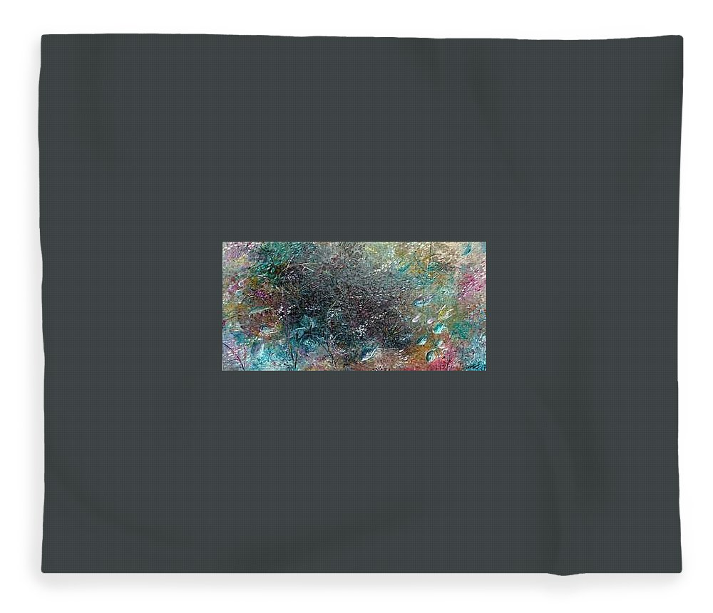 Original Abstract Painting Of Under The Sea Fleece Blanket featuring the painting Rainbow Reef by Karin Dawn Kelshall- Best