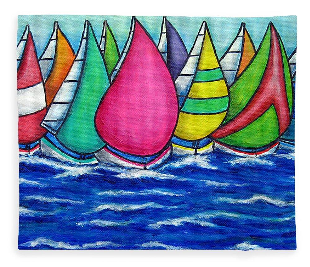 Boats Fleece Blanket featuring the painting Rainbow Regatta by Lisa Lorenz