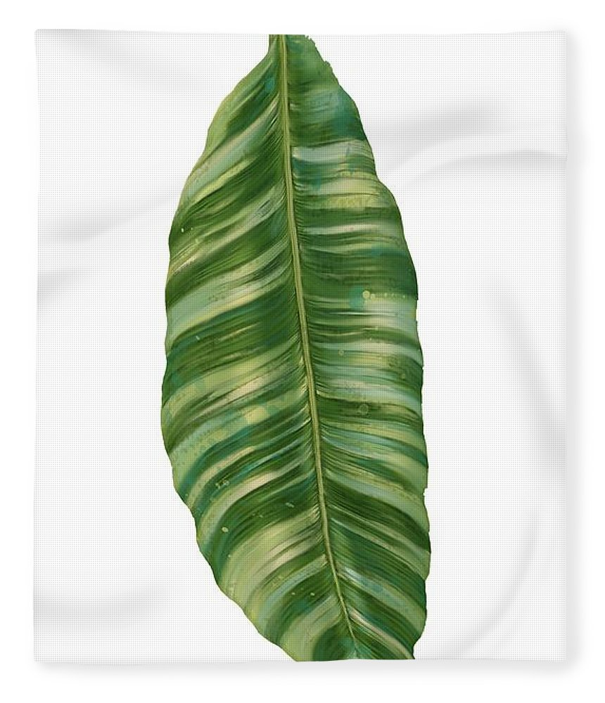 Tropical Fleece Blanket featuring the painting Rainforest Resort - Tropical Banana Leaf by Audrey Jeanne Roberts