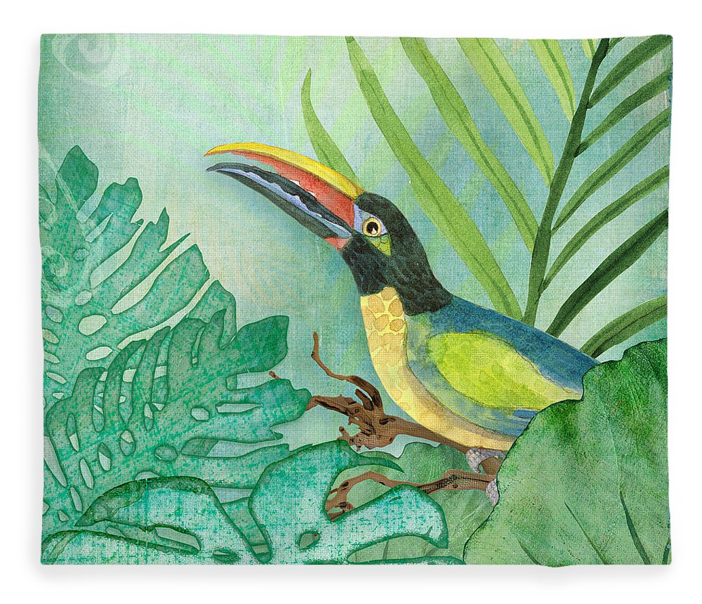 Square Format Fleece Blanket featuring the painting Rainforest Tropical - Jungle Toucan W Philodendron Elephant Ear And Palm Leaves 2 by Audrey Jeanne Roberts