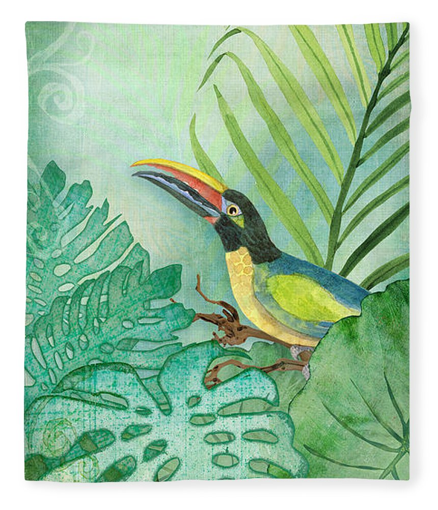 Toucan Fleece Blanket featuring the painting Rainforest Tropical - Tropical Toucan W Philodendron Elephant Ear And Palm Leaves by Audrey Jeanne Roberts