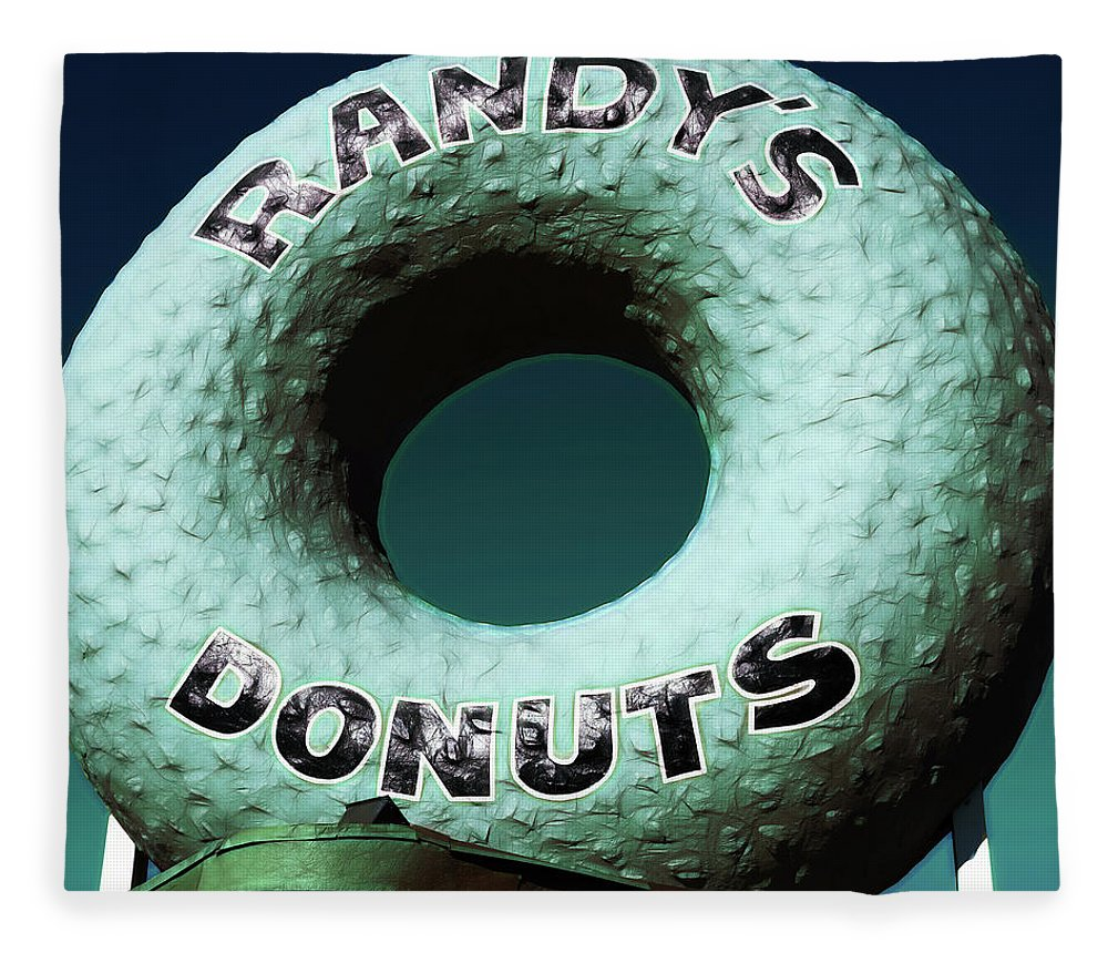 Randy's Donuts Fleece Blanket featuring the photograph Randy's Donuts - 12 by Stephen Stookey