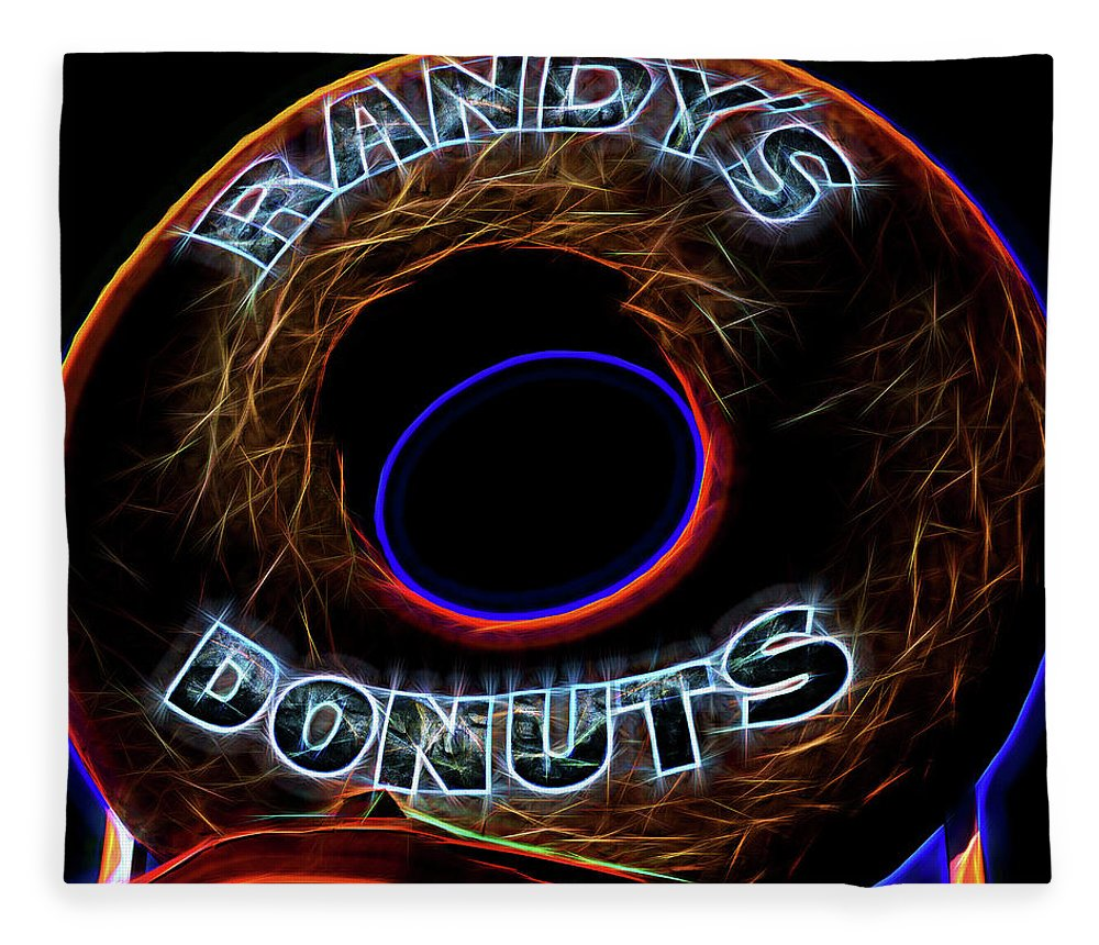Randy's Donuts Fleece Blanket featuring the photograph Randy's Donuts - 5 by Stephen Stookey