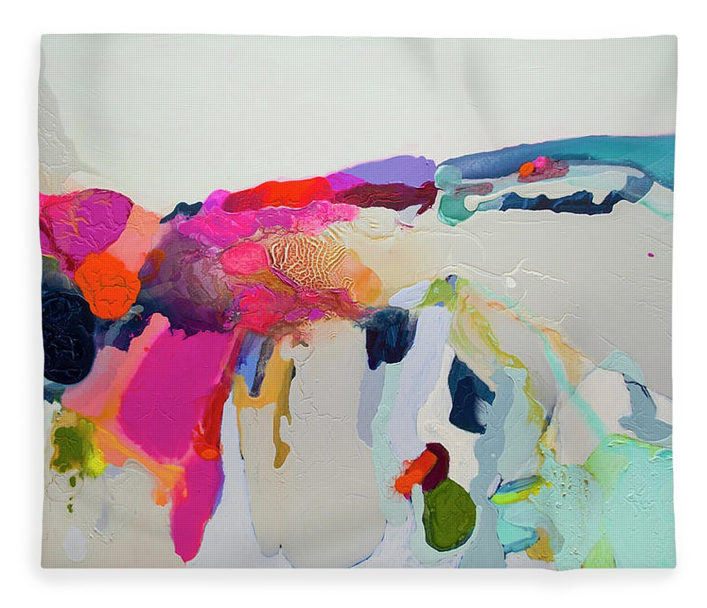 Abstract Fleece Blanket featuring the painting Reach In Reach Out by Claire Desjardins