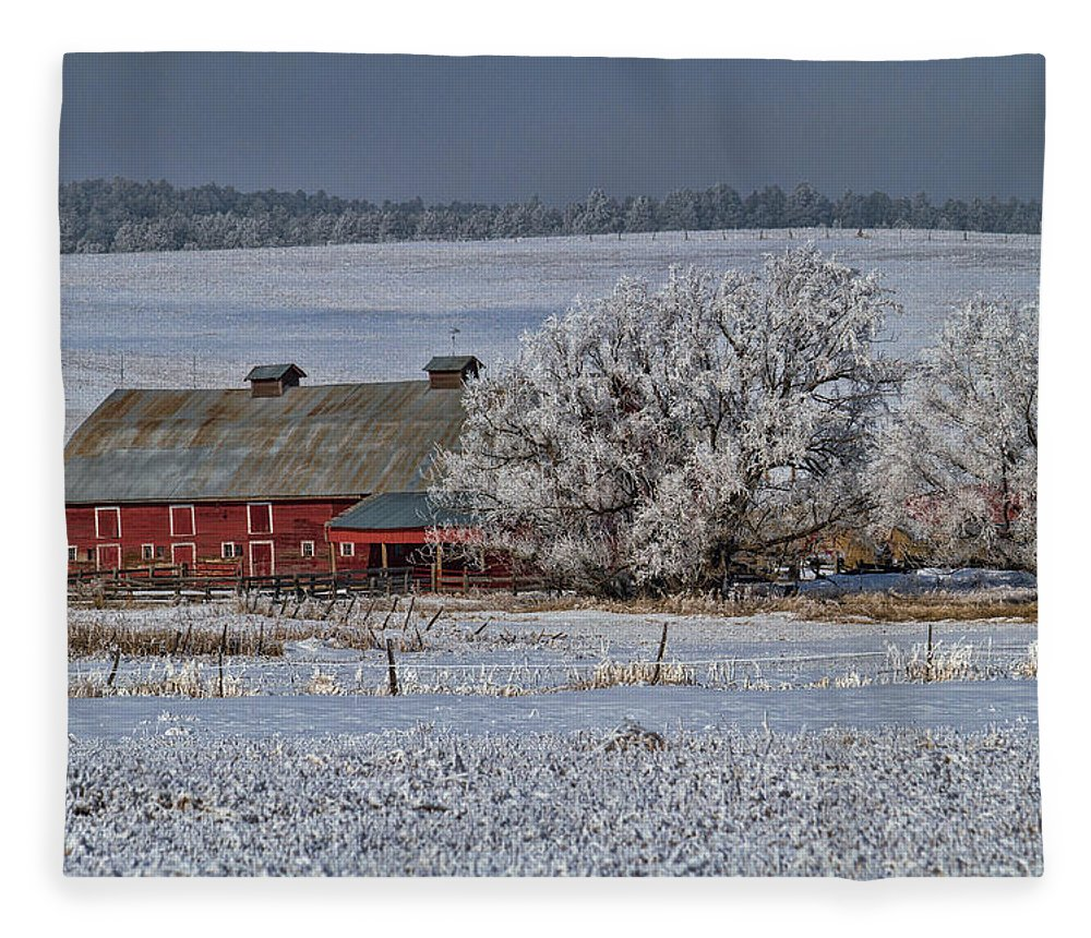 Winter Fleece Blanket featuring the photograph Red Barn in Winter by Alana Thrower