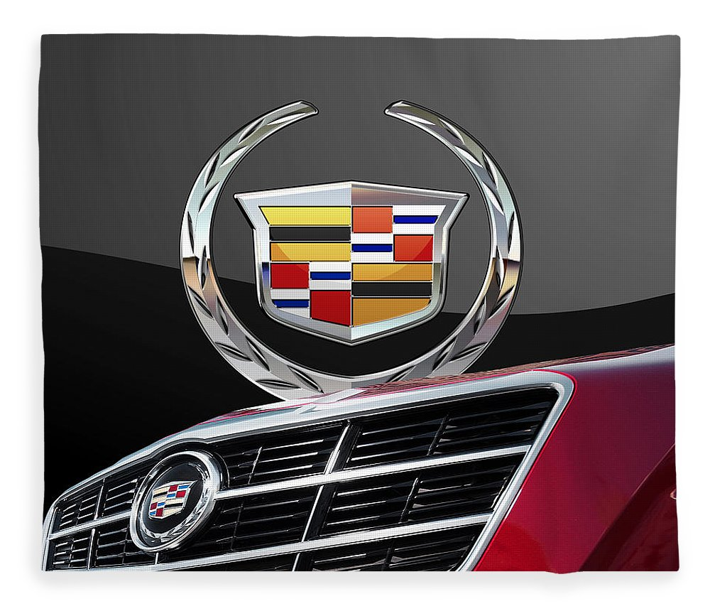 'auto Badges' By Serge Averbukh Fleece Blanket featuring the photograph Red Cadillac C T S - Front Grill Ornament and 3D Badge on Black by Serge Averbukh