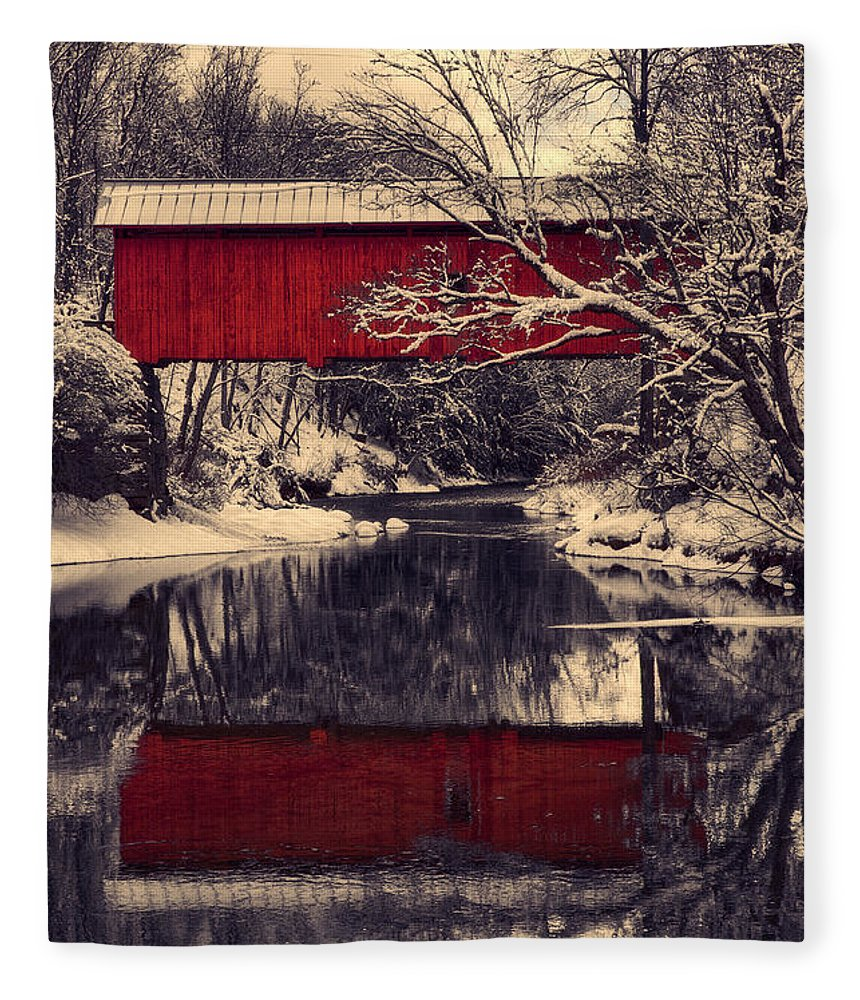 #jefffolger #vistaphotography Fleece Blanket featuring the photograph Red Covered Bridge In Winter by Jeff Folger