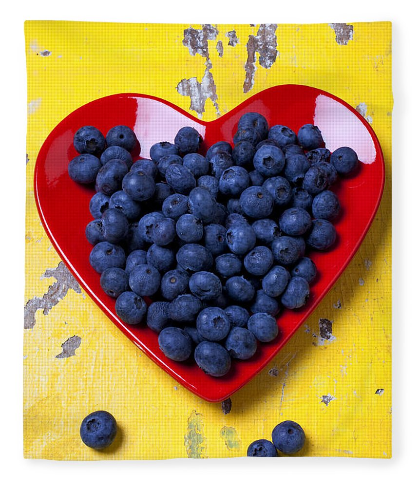Red Heart Shaped Plate Fleece Blanket featuring the photograph Red heart plate with blueberries by Garry Gay