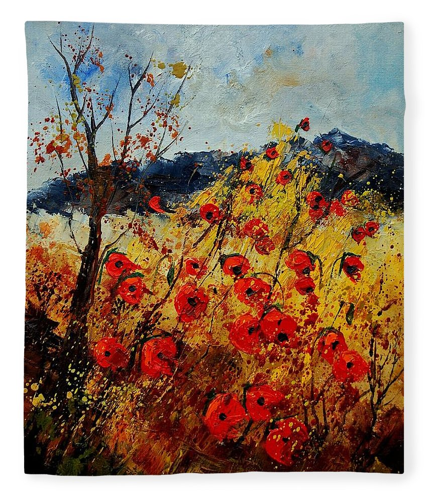 Poppies Fleece Blanket featuring the painting Red Poppies In Provence by Pol Ledent