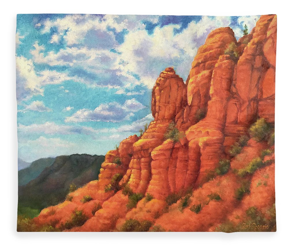 Sedona Fleece Blanket featuring the painting Red Rocks by Teri Rosario