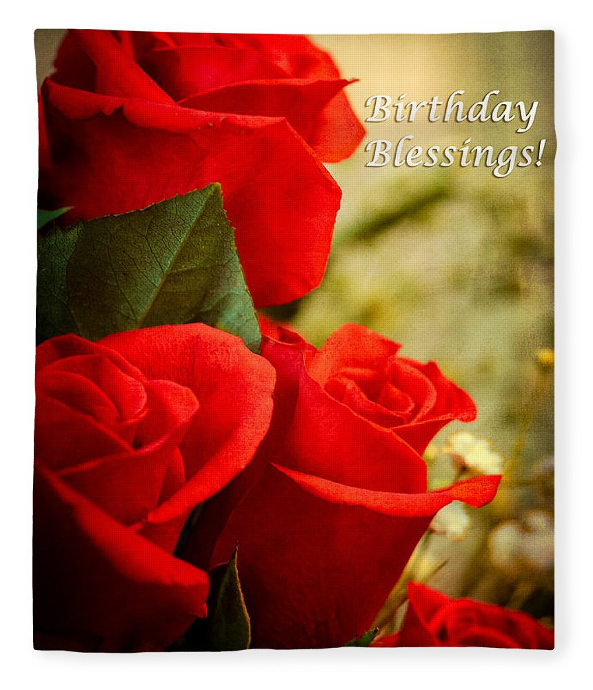 Red Rose Birthday Greeting Card Fleece Blanket For Sale By Joni Eskridge
