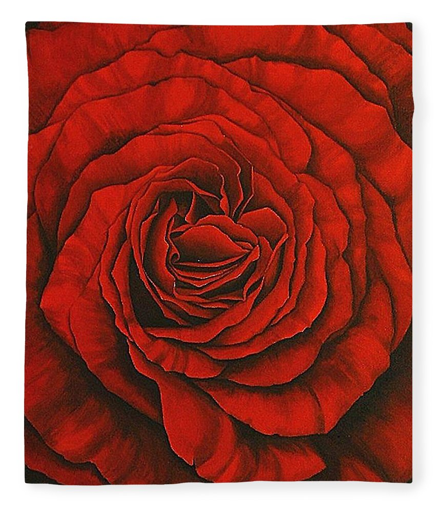 Red Fleece Blanket featuring the painting Red Rose II by Rowena Finn