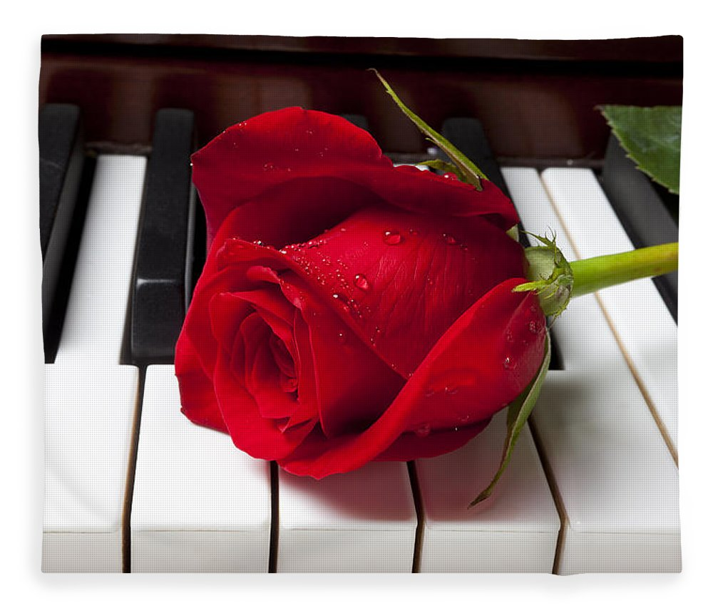 Red Rose Roses Fleece Blanket featuring the photograph Red Rose On Piano Keys by Garry Gay