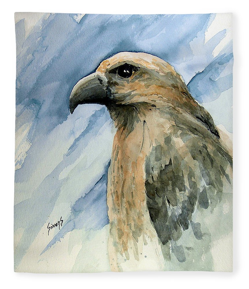 Bird Fleece Blanket featuring the painting Red by Sam Sidders