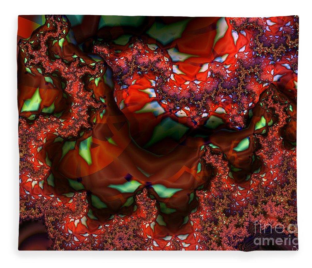 Berry Fleece Blanket featuring the digital art Red Thread by Ron Bissett