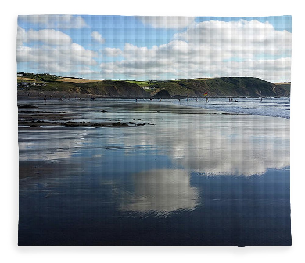 Cornwall Fleece Blanket featuring the photograph Reflections Of Widemouth Bay by Deborah Brodie