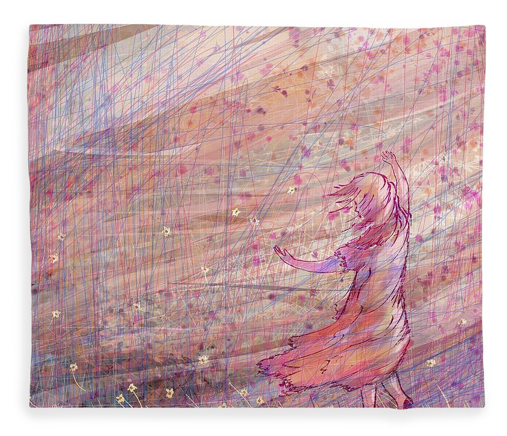 Abstract Fleece Blanket featuring the digital art Releasing The Daisies by William Russell Nowicki