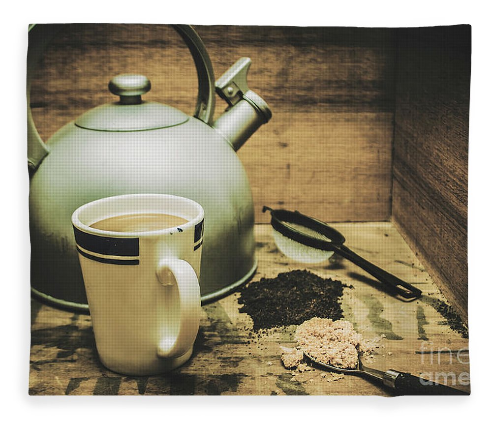 Beverage Fleece Blanket featuring the photograph Retro Vintage Toned Tea Still Life In Crate by Jorgo Photography - Wall Art Gallery