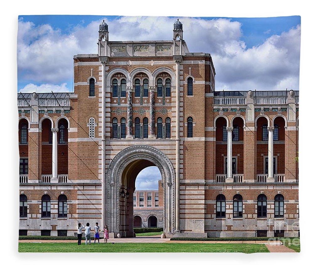 Rice university campus fleece blanket featuring the photograph rice university lovett hall by norman gabitzsch