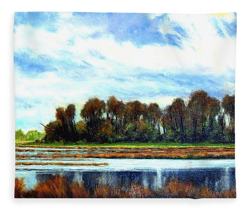 Landscapes Fleece Blanket featuring the painting Ridgefield Refuge Early Fall by Jim Gola