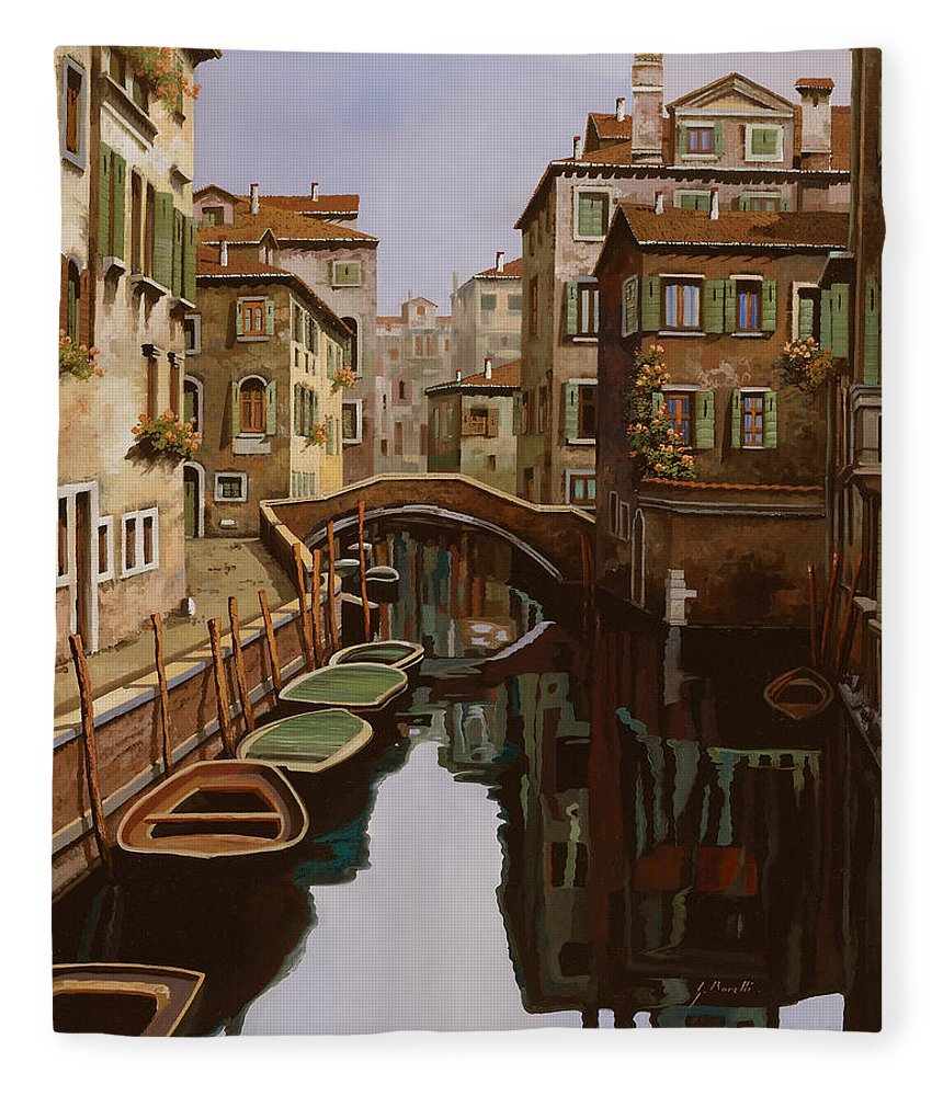 Venice Fleece Blanket featuring the painting Riflesso Scuro by Guido Borelli
