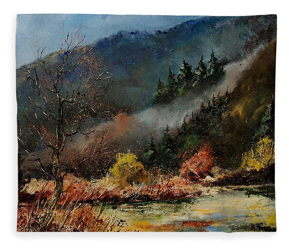 River Fleece Blanket featuring the painting River Semois by Pol Ledent
