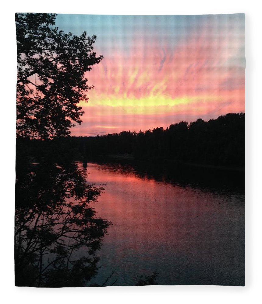 River Fleece Blanket featuring the photograph River Sunset by Shari Chavira
