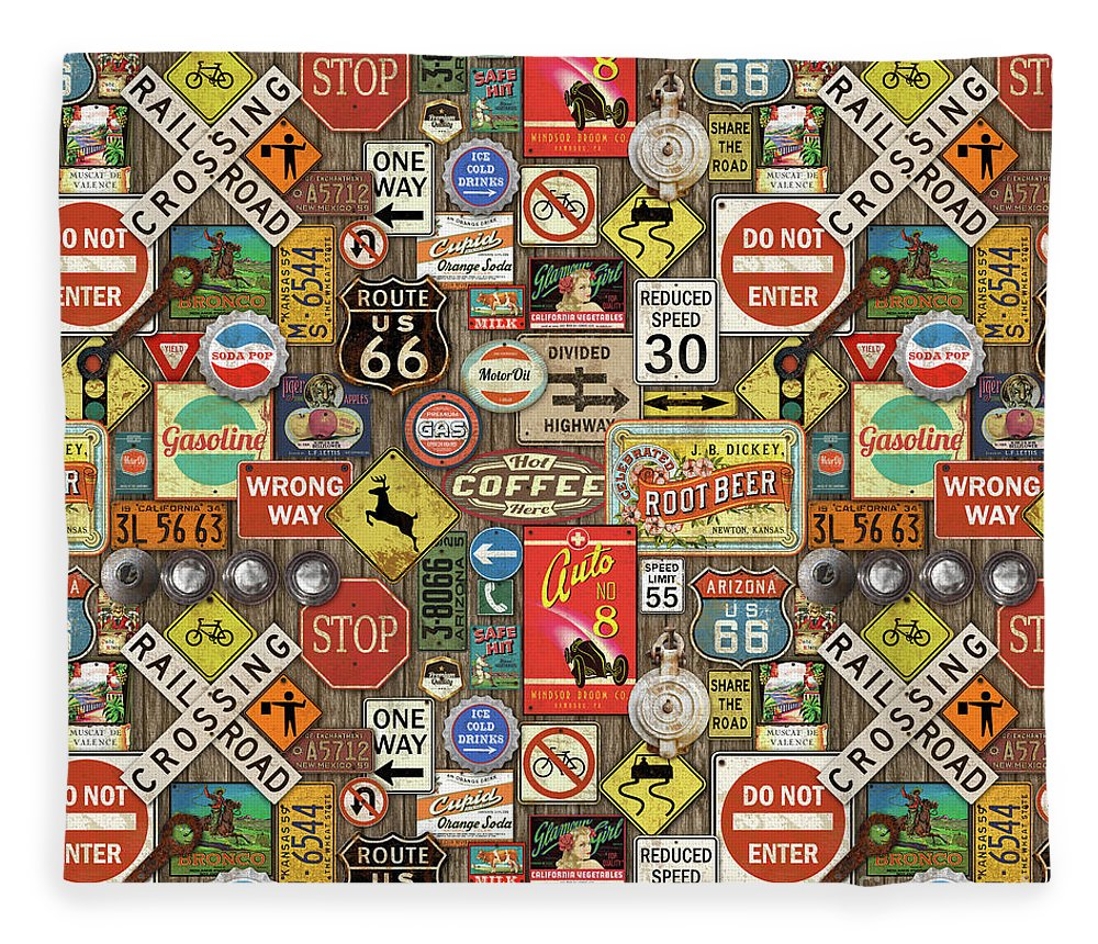 Route 66 Fleece Blanket featuring the painting Roads Signs On Wood-jp3958-b by Jean Plout